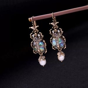 Opalescent Gothic Scarab Beetle Earrings